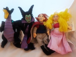 Lot of 4 Disney Bean Plush Sleeping Beauty Aurora Maleficent Prince Philip - $24.31