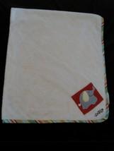 COCALO Baby Blanket - Ivory / Elephant Jungle Stripe Trim Plush Fleece - $22.76