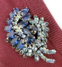 Large Juliana D&E Blue AB Rhinestone Tiered Leaf Vintage Brooch Open Back - $64.35