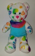 White Hearts Teddy Bear Plush Build A Bear BABW Blue Shirt Pink Green LA... - $29.65