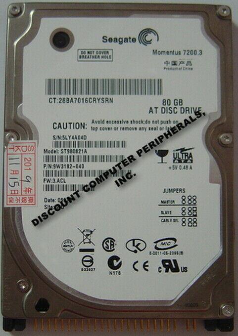 "NEW ST980821A Seagate 80GB 7200RPM IDE 44PIN 2.5"" 9.5MM Hard Drive Free USA Ship"