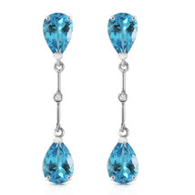 7.01 CTW 14K Solid White Gold Diamond Blue Topaz Dangling Earrings - $296.26