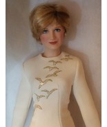 Franklin Mint DIANA Porcelain Portrait Doll Cream silk dinner falcon gown - $75.24
