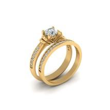 Solid 10k Yellow Gold Heart Base Moissanite Wedding Ring Set Matching Band Set - $1,209.99