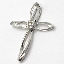 Pendentif Croix or Blanc 750 18K, Diamant, Fleur, Pétales, Made IN Italy - $368.52