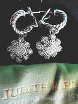 Judith Ripka Sterling Silver Diamonique Floral Dangle Pierced Earrings J... - $139.95