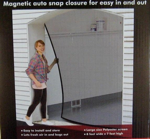 Screen mesh door cover for one car garage or shop 8 feet for 14 foot tall garage door