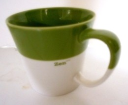 Starbucks Zen 12 oz Green White New Bone China Coffee Mug 2010 - $12.53