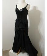 Vintage Gown 80's LILLIE RUBIN Black Taffeta Sequin Ruched Drop Asymmetr... - $359.99