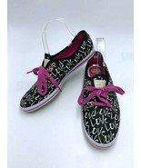 Kate Spade Keds 8 Black White Pink Lace Love Graffiti Canvas Shoes Sneakers - $39.99