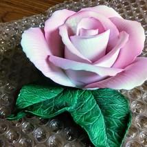 Vintage Tiffany Porcelain Pink Rose on Green Leaves Figurine  image 1