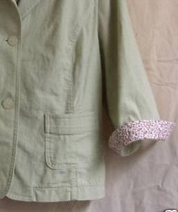 Celery Green  light Jacket with self covered buttons and 3/4 sleeve with floral