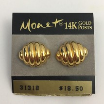 Vintage Monet Earrings 14K Gold Posts Ribbed Shrimp Pierced Original Card - $24.70