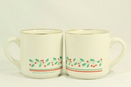 Arby's 1987 Set 2 Christmas Collection Coffee Mug Cup Holly Berry Ribbon... - $14.35
