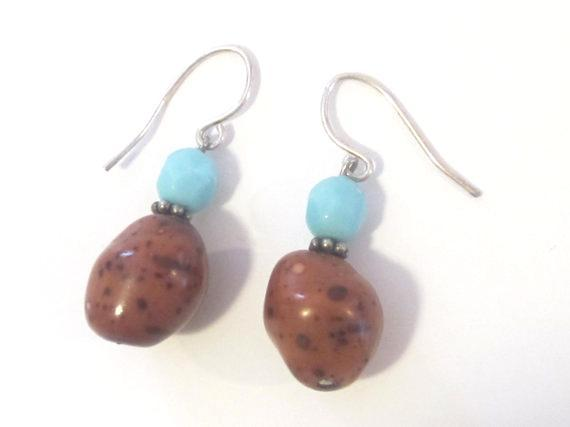 Lovely sterling silver 925 with Brown & Light Blue stone earrings