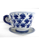 Wall Pocket Planter Teacup Blue And White 1980s China Wall Decor Teacup ... - $12.00