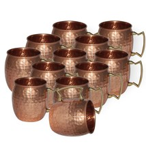 Brown Copper Mug beer wine Vodka Mug Set of 12 juice tea coffee Hammered... - $127.37