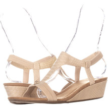 A35 Vacanza Square Toe Wedge T-Strap Sandals, Pale Gold, 9.5 US - $27.83