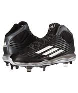 Men's Adidas PowerAlley 3 Mid Baseball Shoes AD-5120288 Black/White/Grey... - $42.06