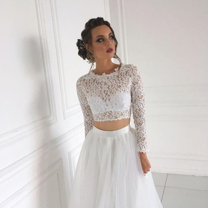 Long sleeves two piece wedding dresses soft tulle bridal gowns 2020 formal women robe de mariee