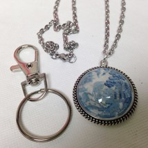 2 in 1 Combo,1.25in Round Blue Willow Necklace and 3.5in L Silver Tone K... - $15.15