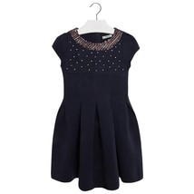 Mayoral Tween Girls 2T-9 Navy-Blue Neoprene And Tweed Trim Social Dress