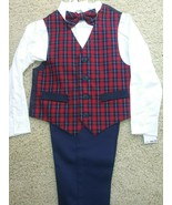 NEW Nautica Boys 4 Pc Navy/Red Plaid Vest OUTFIT Suit Sz 5 or 6  NWT $64+ MSRP  - $23.77