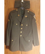 Vintage US United States Army Mens Green Jacket 36R Patches & Hat - $134.99
