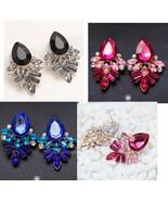 Earrings post plastic rhinestones black blue pink pretty night out  - $14.00