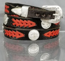 NEW BLACK HATBAND w/Braided RED LEATHER, SILVER CONCHOS & Buckle Set Hat... - $23.45