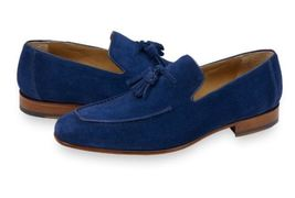 New Handmade Men's Blue Suede Tassel Slip Ons Loafer Shoes image 3