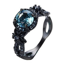 Rongxing Jewelry Wedding Rings Blue Crystal Women's Black Gold Size 9 - $57.56
