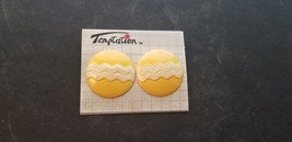Vintage Temptation Brand Yellow With White Stripes Round Circle Earrings - $15.44