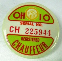 Vintage OHIO REGISTERED CHAUFFEUR BADGE Pin Back Serial #225944 Badge Bu... - $18.87