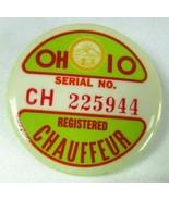 Vintage OHIO REGISTERED CHAUFFEUR BADGE Pin Back Serial #225944 Badge Bu... - $18.87