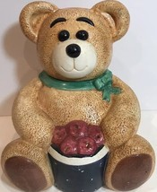 "Rare GKRO Ceramic Collectible Cookie Jar Brown Teddy Bear Red Apples Basket 12""H - $39.59"