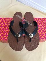 Size 8M Nib Tory Burch Black/ Gold Thora Thong Leather Sandals - $115.00