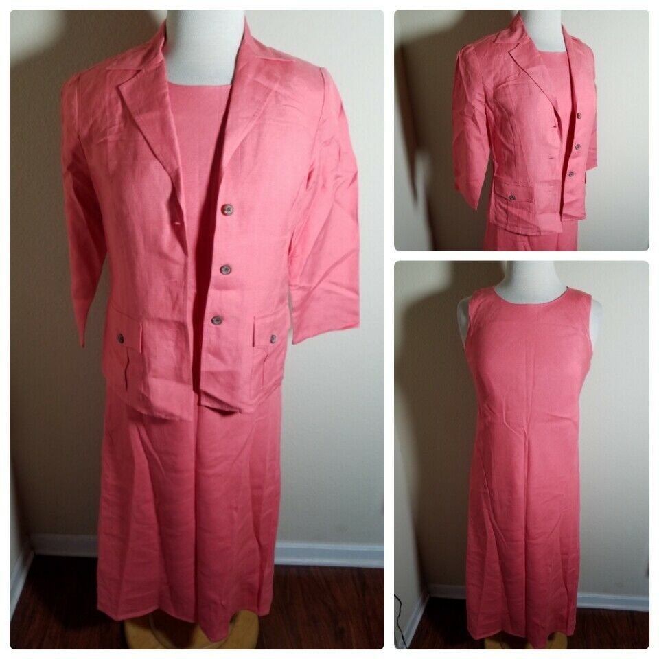 Talbots Petites Women's Dress Set Linen Blend Pink Sleeveless Maxi & Jacket 4