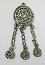 Vintage Silver Tone Dreamcatcher Dangle Pendant / Charm NO BAIL Untested - $9.99