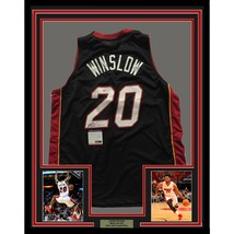 FRAMED Autographed/Signed JUSTISE WINSLOW 33x42 Miami Heat Black Jersey ... - €356,40 EUR
