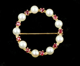 Vintage Mid Century 14k Yellow Gold Ruby & Pearl Wreath Circle Brooch Pin - $179.99