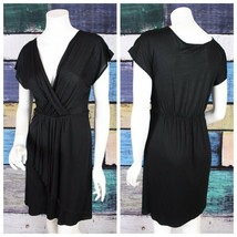 Ann Taylor LOFT Small S Black V-Neck Ruched Stretch Micro Modal Faux Wra... - $19.88