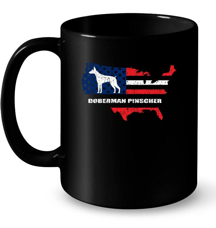 Patriotic American Flag Dog Doberman Pinscher 4th of July Gift Coffee Mug