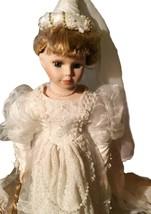 Porcelain Bride Doll White Wedding Dress Pearl Blond Hair Vintage Collec... - $79.19