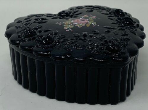 Fenton Glass Trinket Box Hand Painted Amethyst Black By M. Reynolds (19-265)
