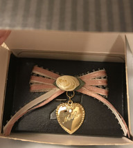 Avon Ribbon & Hearts Pin - Ivory & Pink Ribbon with Goldtone Heart - Mother - $5.94