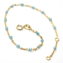 18K YELLOW GOLD BRACELET, AZURE FACETED CUBIC ZIRCONIA, ROLO CHAIN, 6.9 INCHES image 1