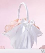 White or Ivory Satin Flower Girl Basket Wedding Flower Girl Basket - $19.98
