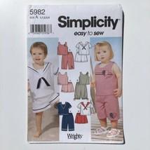 Simplicity 5982 Toddler Summer Shorts Sailor Top Capris 1/2-4 Uncut Patt... - $7.80