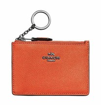 COACH Mini Skinny ID Card Case Wallet Mandarine Crossgrain Leather Gunsm... - $29.70